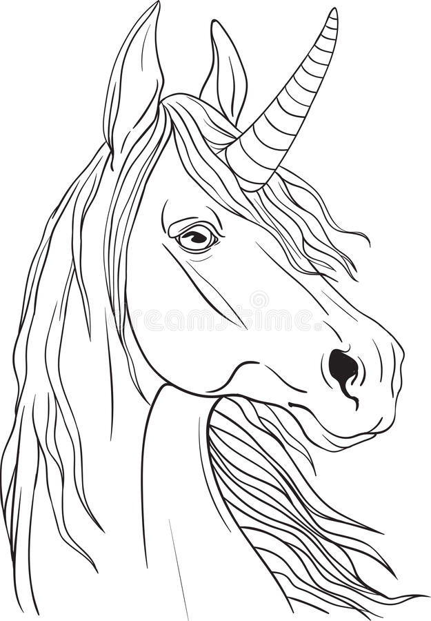Coloring page with unicorns portrait royalty free stock photos