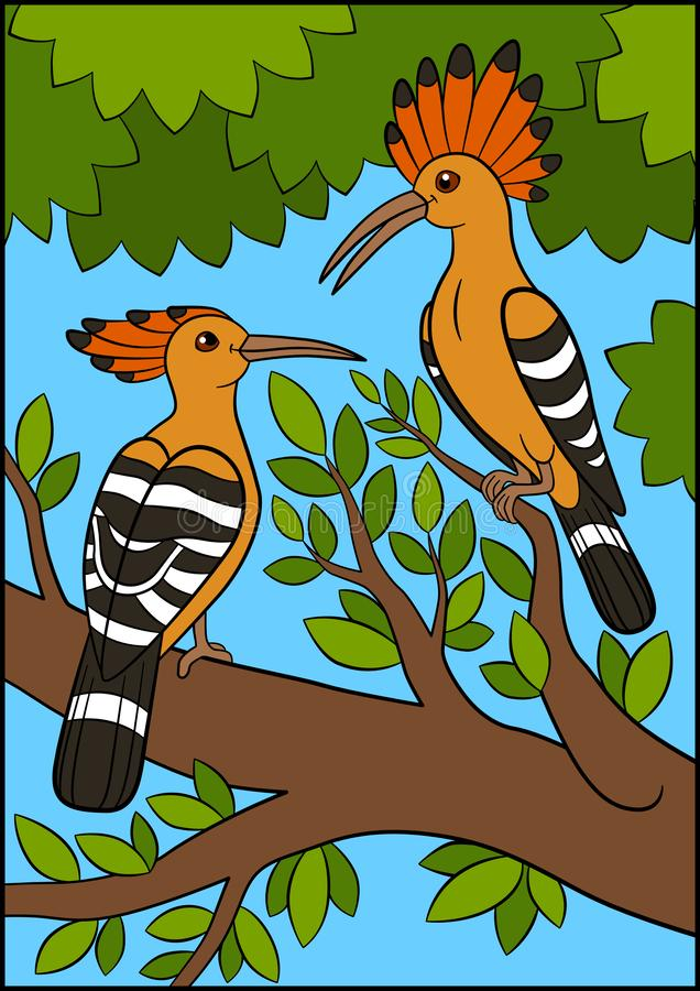 Cartoon birds. Two beautiful hoopoes sit on the branch royalty free illustration