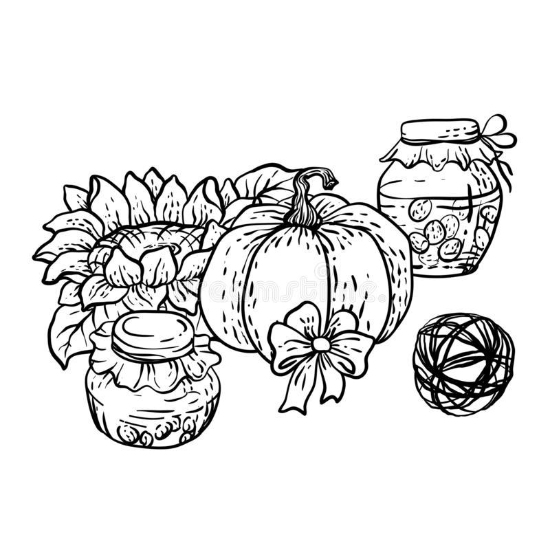 Coloring page in vector with household autumn elements royalty free illustration