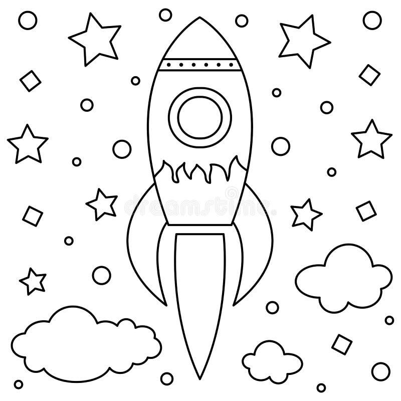 coloring page vector illustration black white rocket
