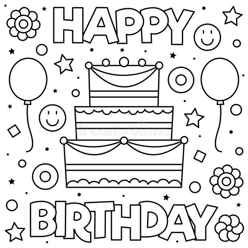 Coloring page. Vector illustration. Happy Birthday. Coloring page. Black and white vector illustration royalty free illustration