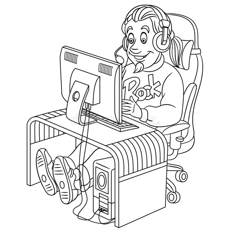 Coloring page with video cyber e-sport gamer vector illustration