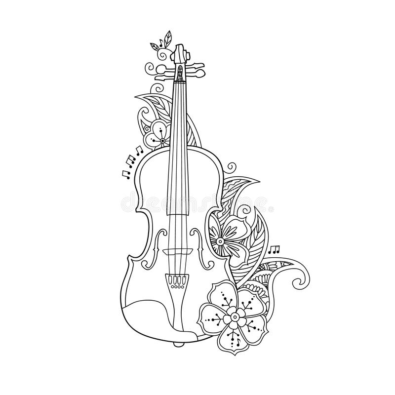 Coloring Page Violin With Flowers And Leafs Stock Vector - Image ...