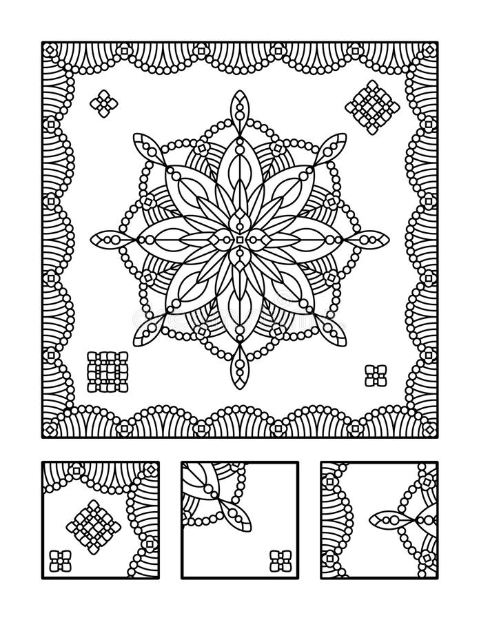 Coloring page and visual puzzle for adults. Framed mandala coloring page for adults (children ok, too) and visual puzzle. Puzzle directions: find the fragment stock illustration