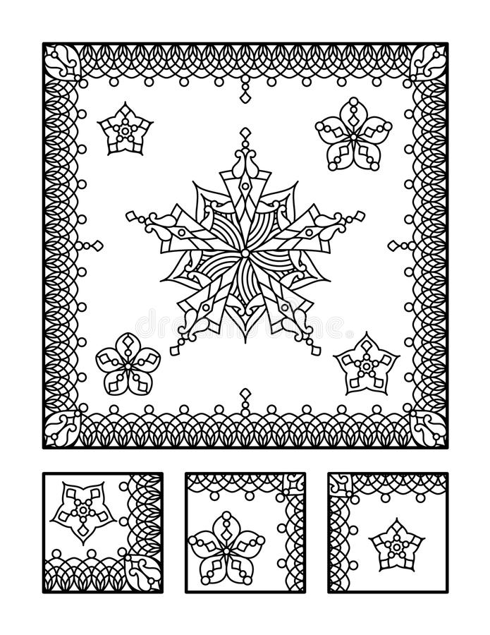 Coloring page and visual puzzle for adults. Framed mandala coloring page for adults (children ok, too) and visual puzzle. Puzzle directions: find the fragment royalty free illustration