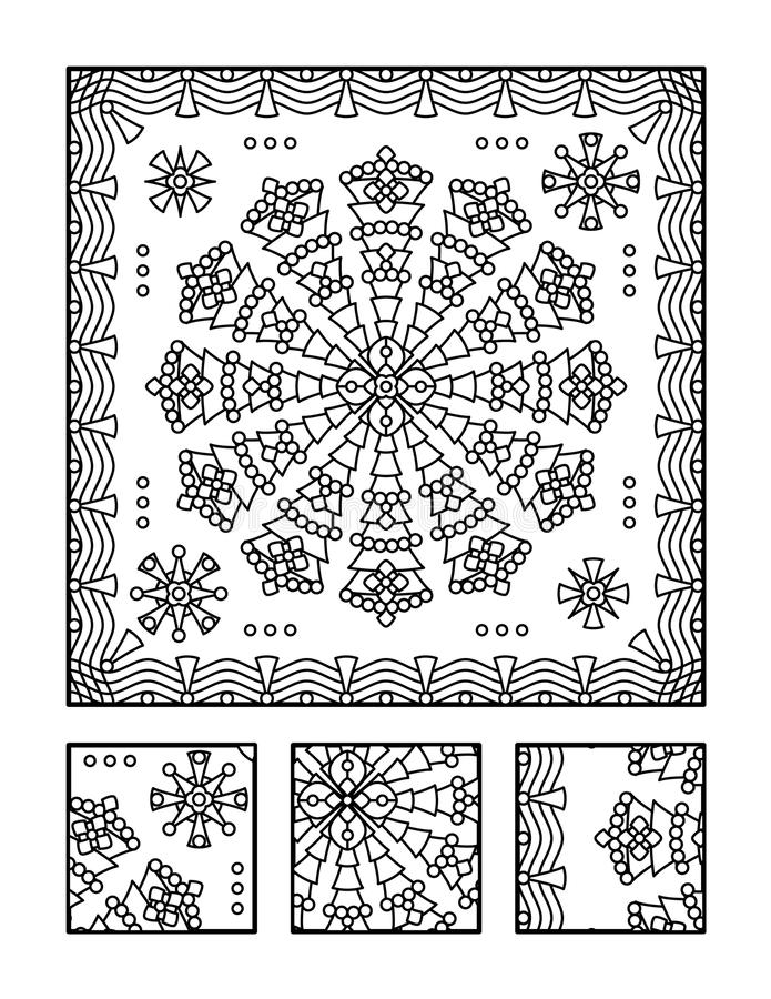 Coloring page and visual puzzle for adults. Framed mandala coloring page for adults (children ok, too) and visual puzzle. Puzzle directions: find the fragment vector illustration