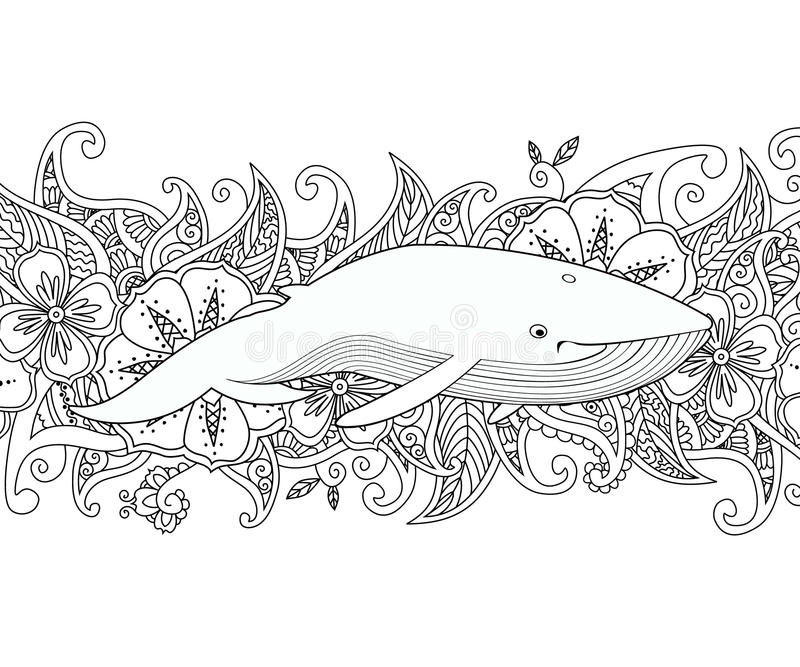 Download Coloring Page With Whale In The Sea On Flower Border Background Stock Vector
