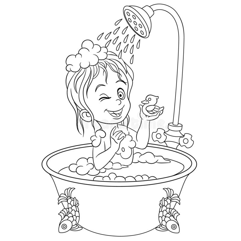 Free Coloring Page With Girl In Bathroom Taking A Shower Stock Image - 158175601