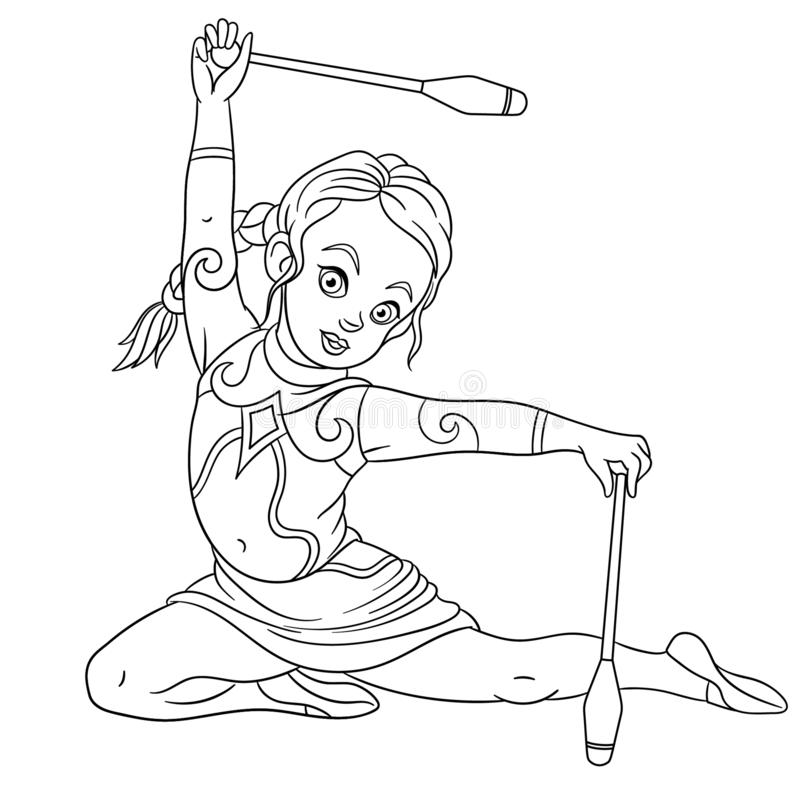 Free Coloring Page With Girl Rhythmic Gymnastic With Juggling Clubs Stock Images - 165210904
