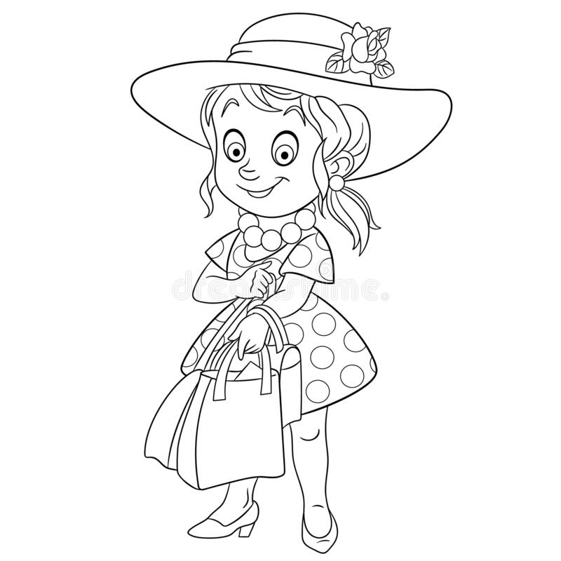 Free Coloring Page With Pretty Girl Shopping Royalty Free Stock Photos - 170735548