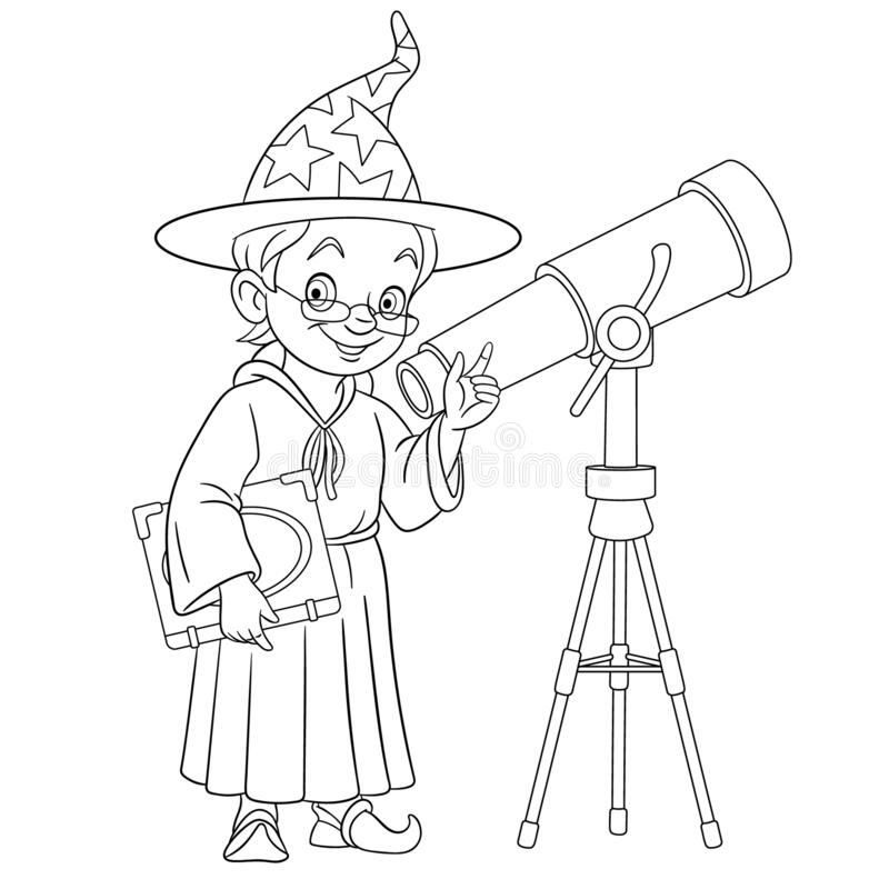 Download Cartoon Spyglass Telescope Vector For Coloring Stock Vector - Illustration of optic, icon: 164547538