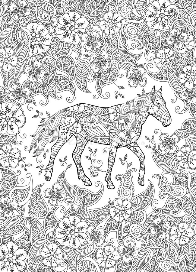 Download Coloring Page In Zentangle Inspired Style Running Horse On Flowering Meadow Vertical Composition