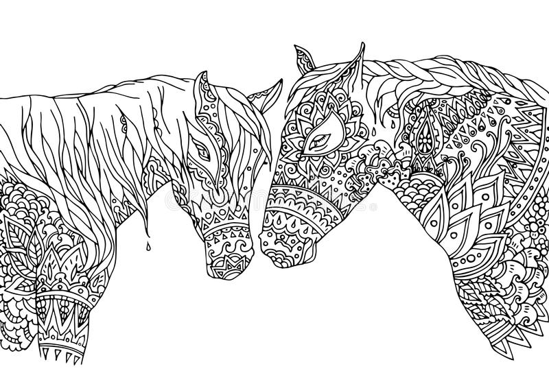 Coloring page in zentangle inspired style. Vector illustration hand-drawn horses mustang, isolated on white background. Hand drawn sketch for adult antistress royalty free illustration