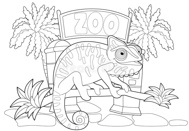 Coloring Page - The Zoo - Illustration For The Children Stock ...