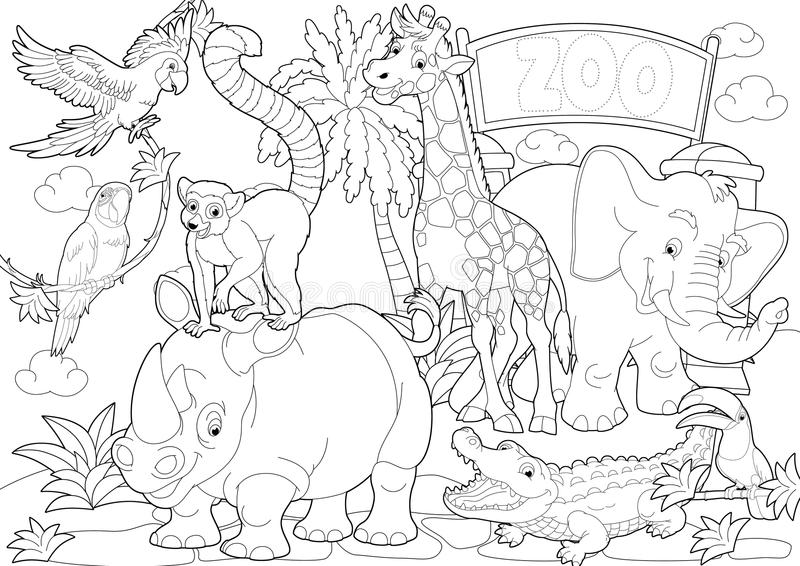 Download Coloring Page - The Zoo - Illustration For The Children Stock Illustration - Image: 36301688
