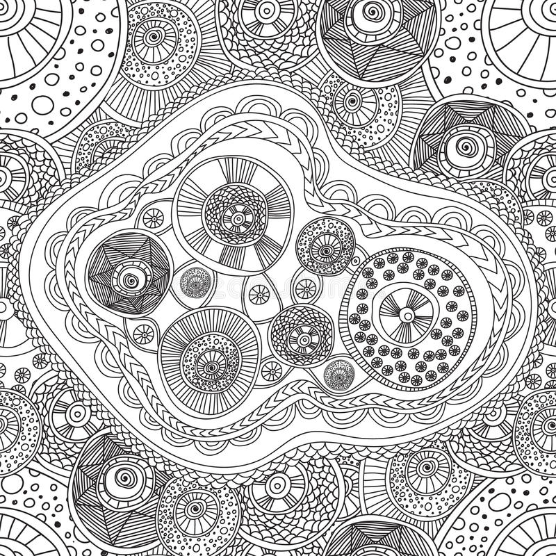 Coloring pages for adults book seamless black and white for Circle pattern coloring pages