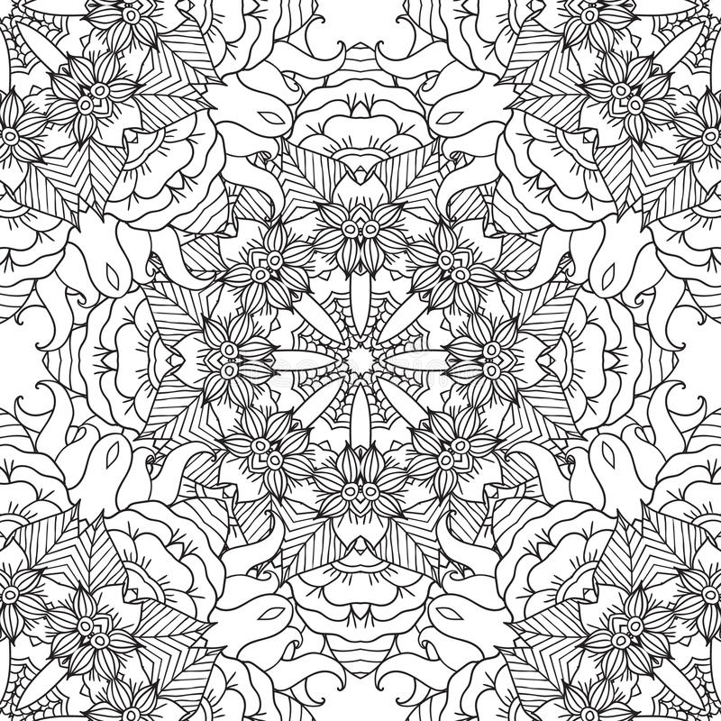Coloring pages for adults.Decorative hand drawn. Coloring pages for adults. Coloring book.Decorative hand drawn doodle nature ornamental mandala vector sketchy stock illustration