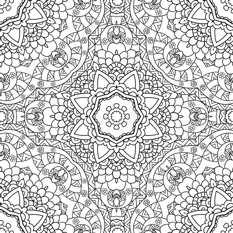 Coloring pages for adults.Decorative hand drawn doodle nature ornamental curl vector sketchy seamless pattern. Coloring pages for adults. Coloring book royalty free illustration