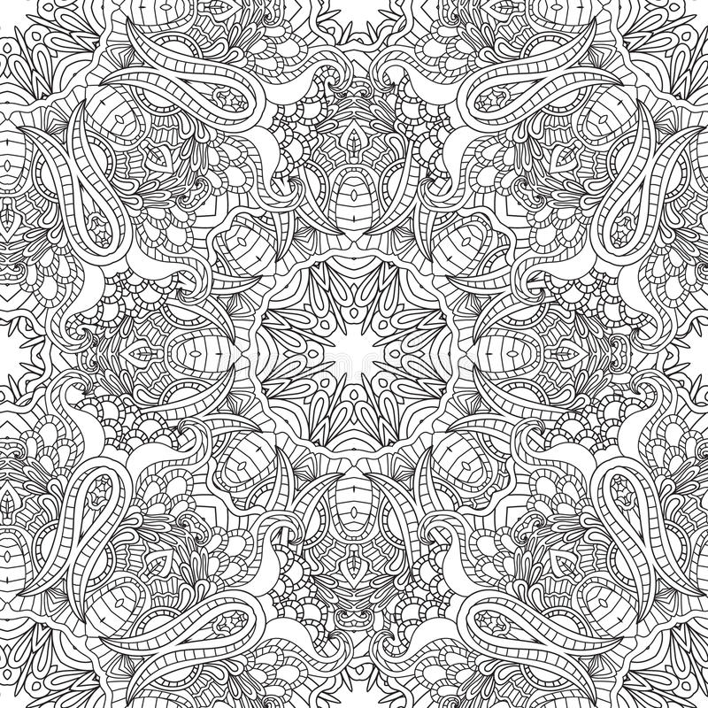 Coloring pages for adults.Decorative hand drawn doodle nature ornamental curl vector sketchy seamless pattern. Coloring pages for adults. Coloring book stock illustration