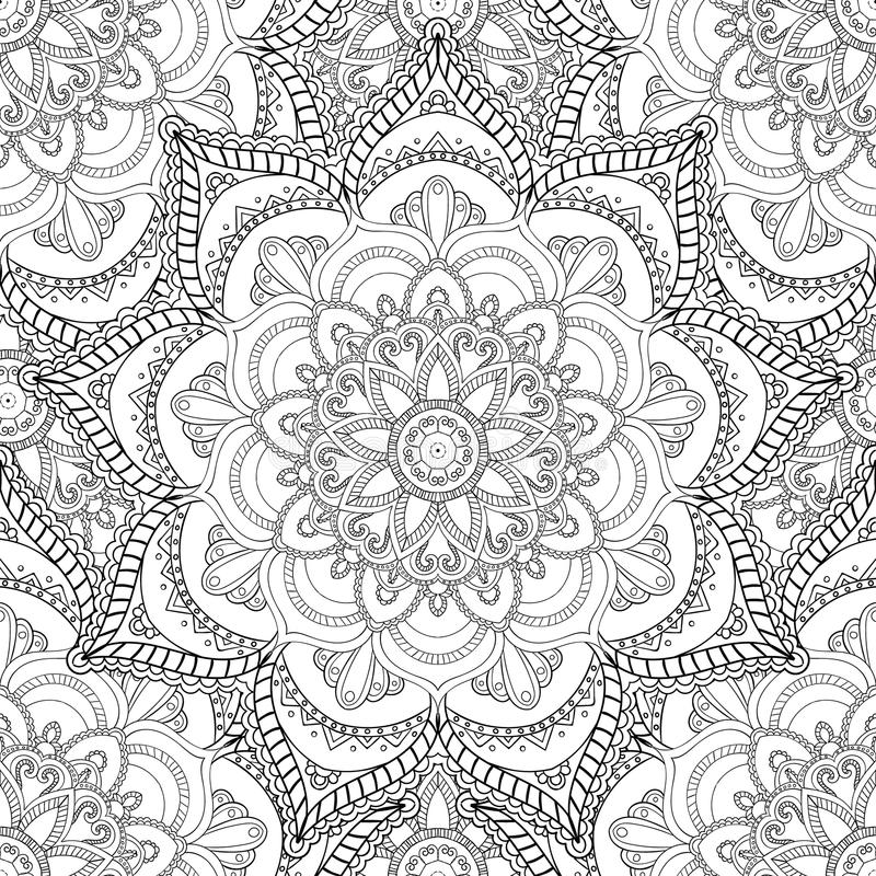 Coloring pages for adults.Decorative hand drawn doodle nature ornamental curl vector sketchy seamless pattern. Coloring pages for adults. Coloring book vector illustration