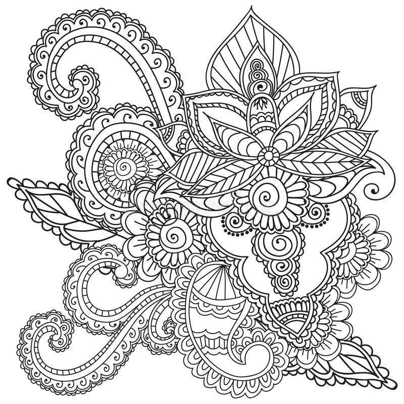 Download coloring pages for adults henna mehndi doodles abstract floral elements stock vector