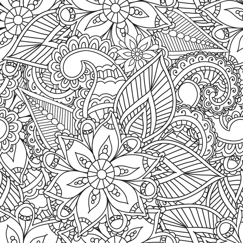 Coloring Pages For Adults. Seamles Henna Mehndi Doodles Abstract Floral  Elements. Stock Vector - Illustration Of Pages, Ethnic: 69060661
