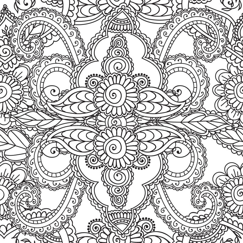Coloring pages for adults. Seamles Henna Mehndi Doodles Abstract Floral Elements. Coloring pages for adults. Seamless pattern.Henna Mehndi Doodles,abstract vector illustration