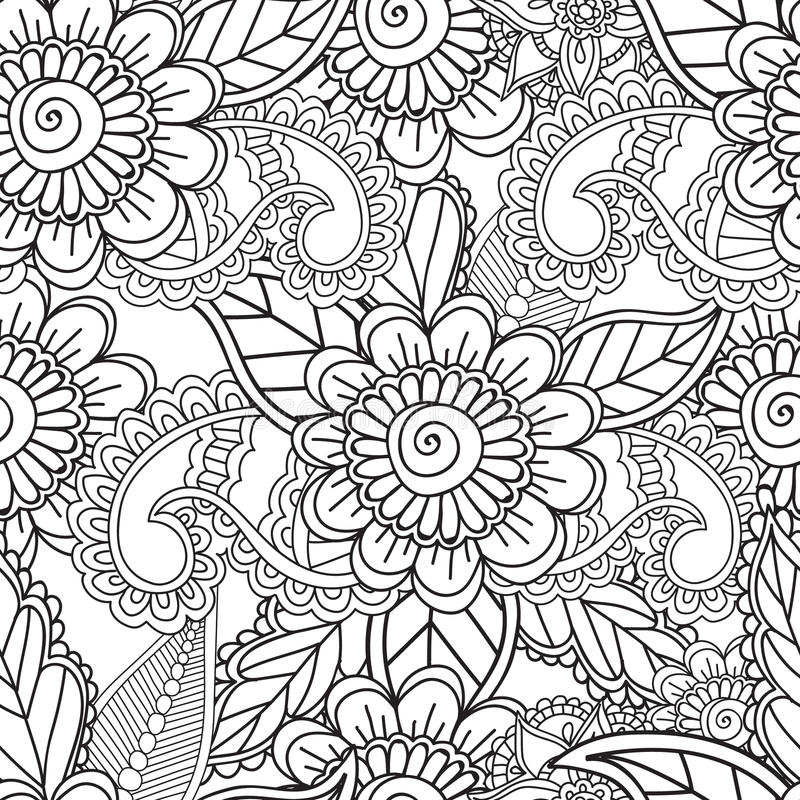 Download coloring pages for adults seamles henna mehndi doodles abstract floral elements stock vector