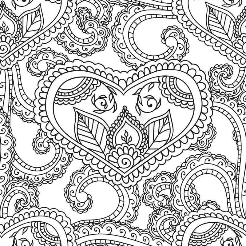 Color Henna Designs: Coloring Pages For Adults. Seamles Henna Mehndi Doodles