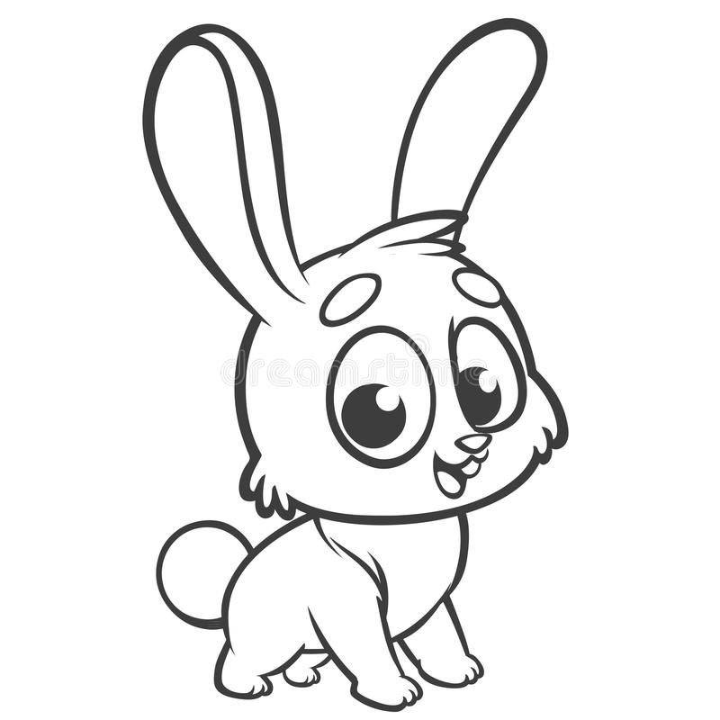 Download coloring pages animals cartoon of a little cute bunny stands and smiles