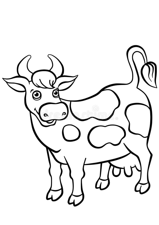 Coloring pages. Animals. Cute cow. stock illustration