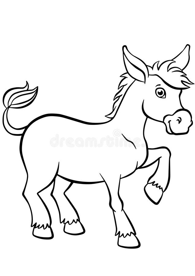 Coloring pages. Animals. Little cute donkey. royalty free illustration