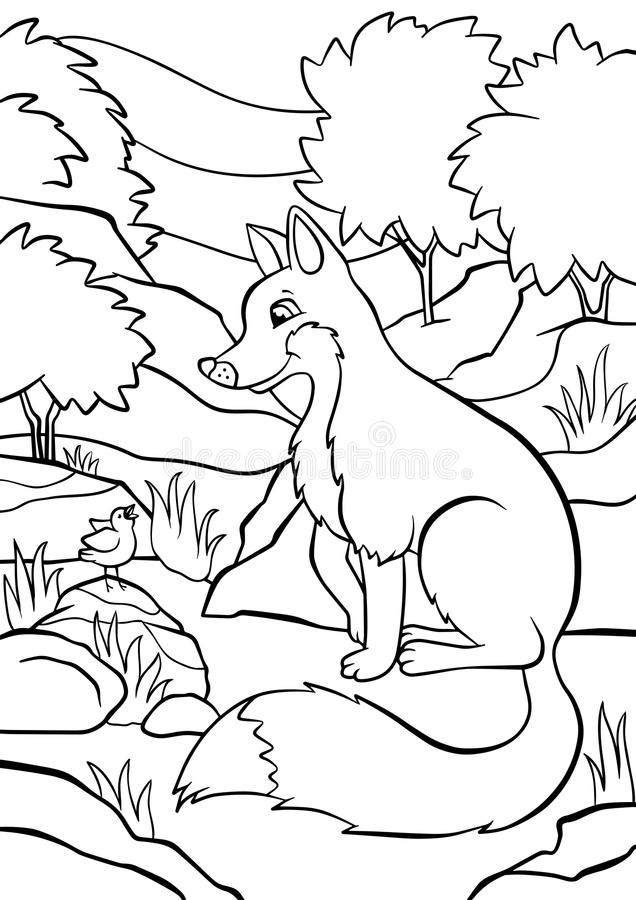 Coloring pages. Animals. Little cute fox. royalty free illustration