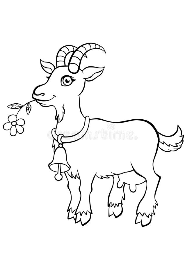 Coloring pages. Animals. Little cute goat. royalty free illustration
