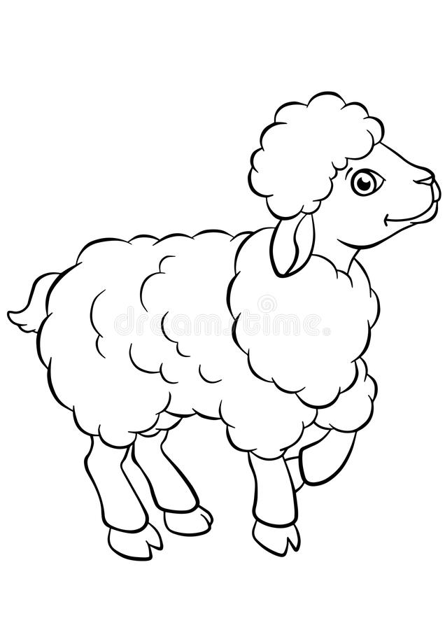 Coloring pages. Animals. Little cute sheep. royalty free illustration