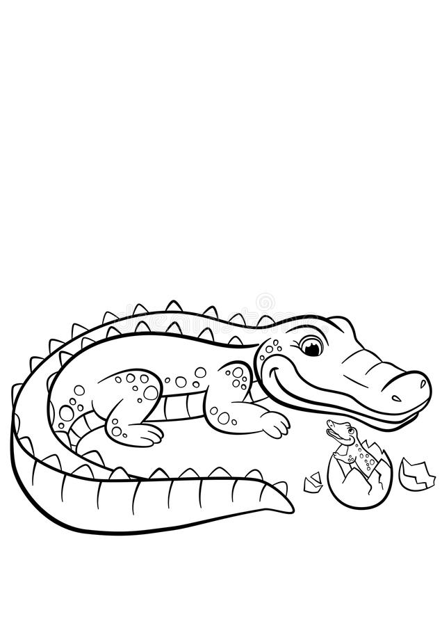 Free Coloring Pages. Animals. Mother Alligator Stock Photo - 72190170
