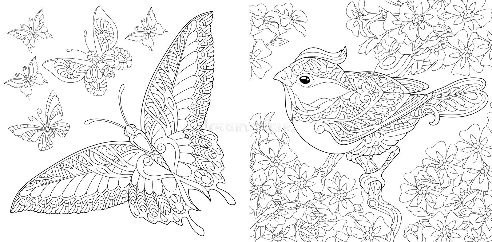 Coloring pages for adults. Lovely Birds Couple. Spring Flowers ... | 394x800
