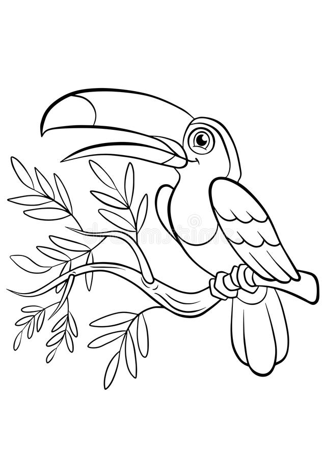 Download coloring pages birds little cute toucan stock vector illustration of coloration