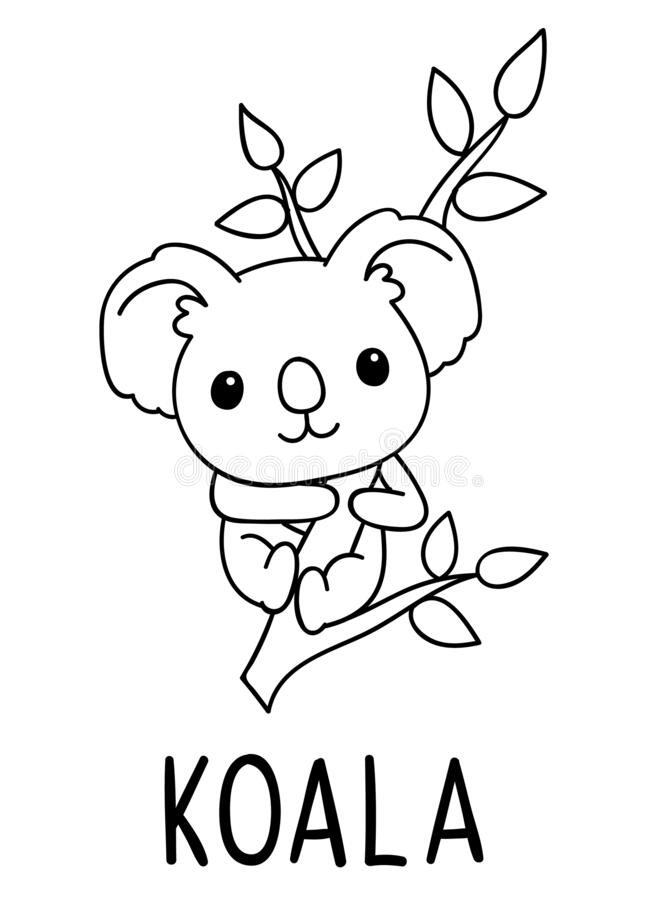 Coloring Pages Black And White Cute Kawaii Hand Drawn Koala Doodles Lettering Koala Stock Vector Illustration Of Happy Coloring 182106859