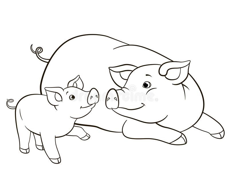 Coloring Pages Mother Pig Looks At Her Little Cute Piglet Stock Vector Illustration Of Baby Character 154304663