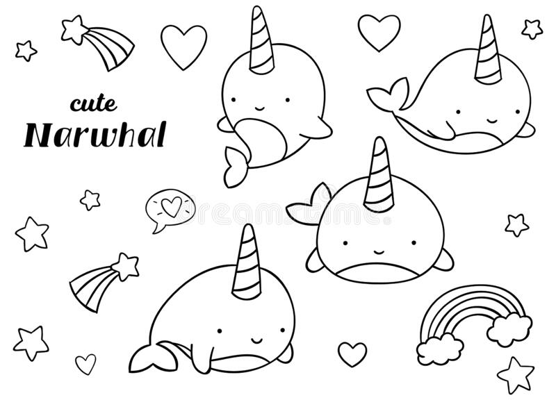 Coloring Pages Black And White Set Cute Kawaii Hand Drawn Narwhal Doodles Stock Vector Illustration Of Animais Style 176250532