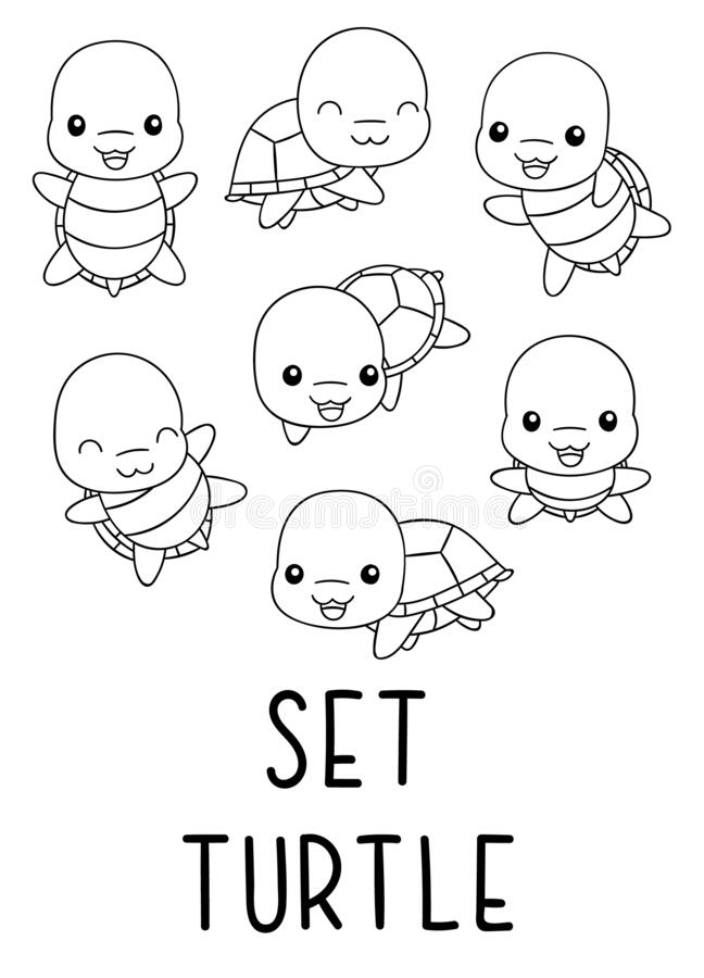 Coloring Pages Black And White Set Cute Kawaii Hand Drawn Turtle Doodles Stock Vector Illustration Of Character Coloring 181090308