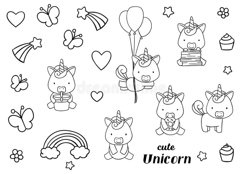 Coloring Pages Black And White Set Cute Kawaii Hand Drawn Unicorn Doodles Stock Vector Illustration Of Cartoon Drawn 176251156