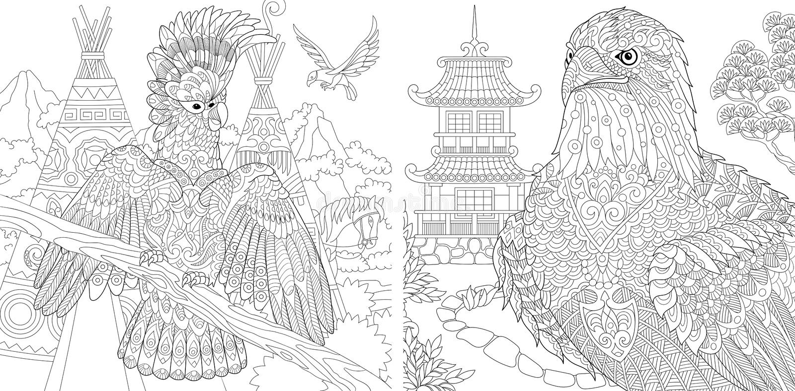Coloring Pages. Coloring Book for adults. Colouring pictures with cockatoo and eagle. Antistress freehand sketch drawing with stock photos