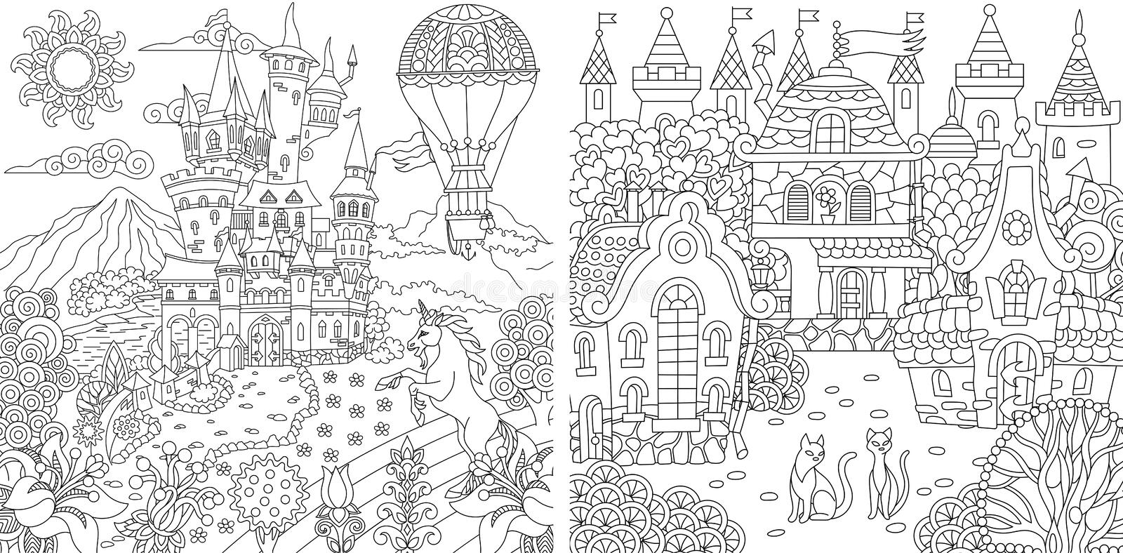 Coloring Pages. Coloring Book for adults. Colouring pictures with fantasy castles and houses drawn in zentangle style. Vector royalty free illustration