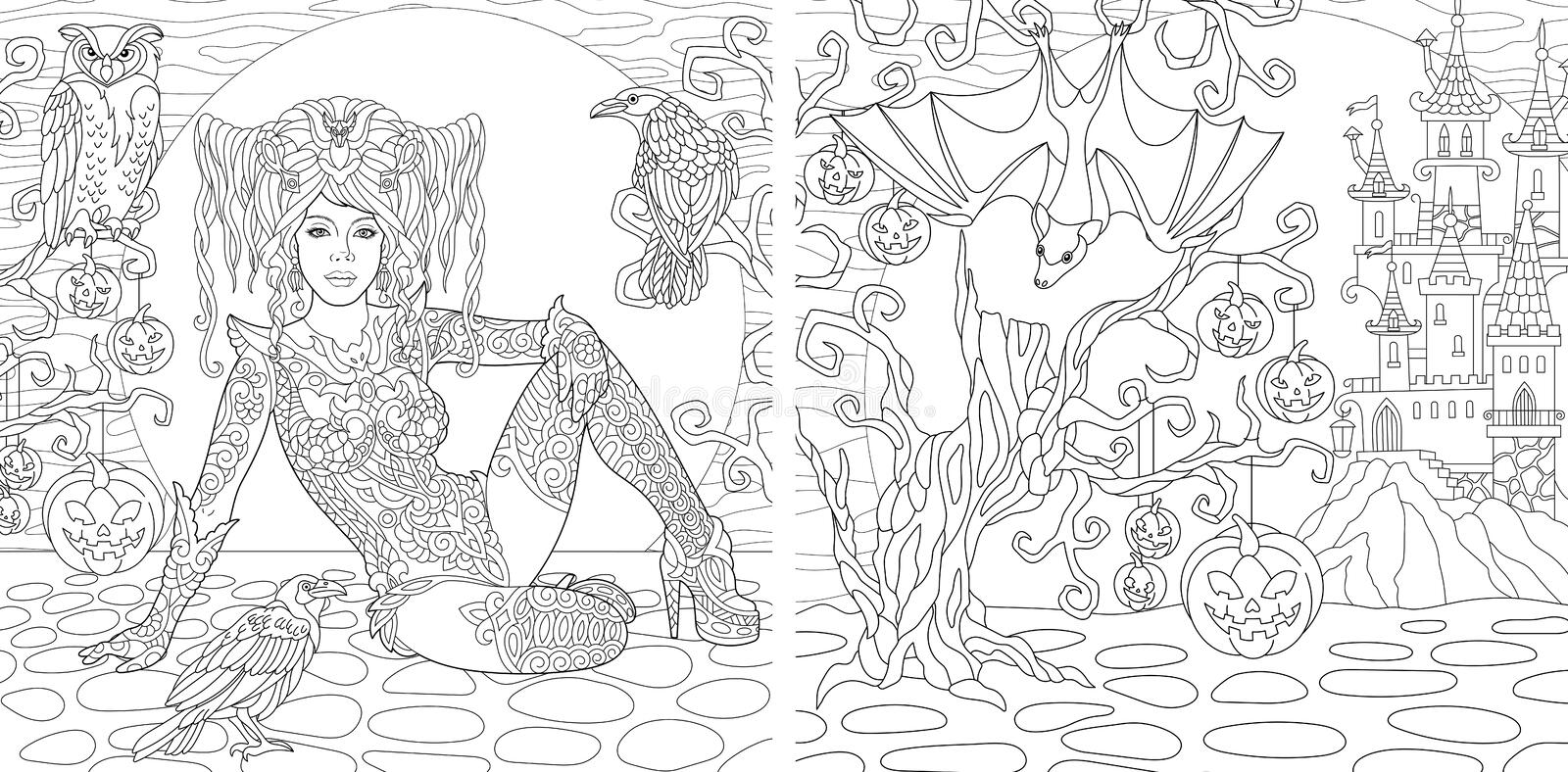 Coloring pages with Halloween witch stock photos
