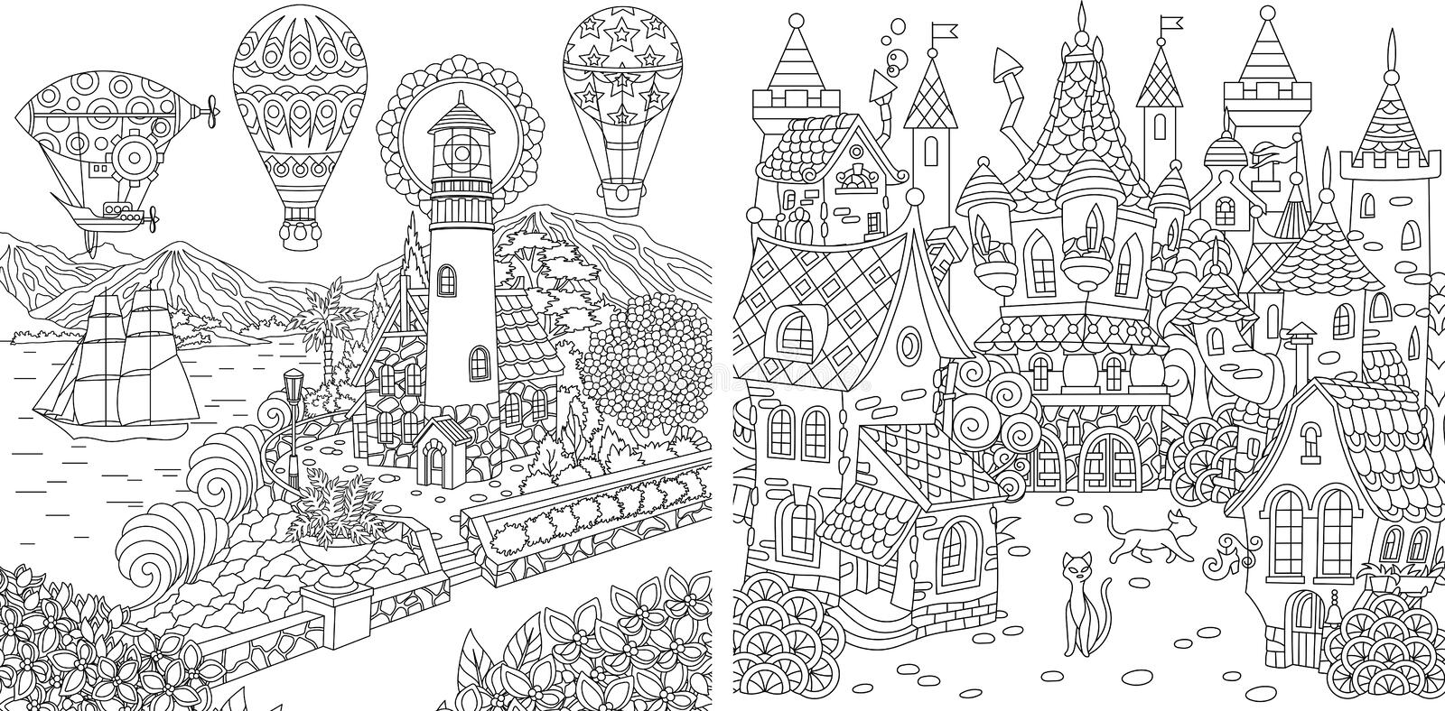 Coloring Pages. Coloring Book for adults. Colouring pictures with light house and fairy tale castle. Antistress freehand sketch stock image