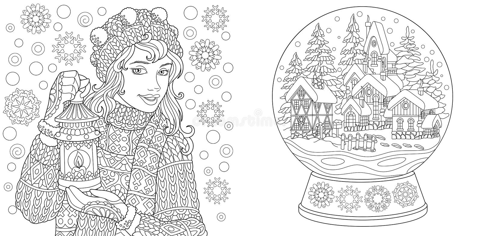 Coloring Pages. Coloring Book for adults. Colouring pictures with winter girl and crystal snow ball. Antistress freehand sketch. Drawing with doodle and stock illustration