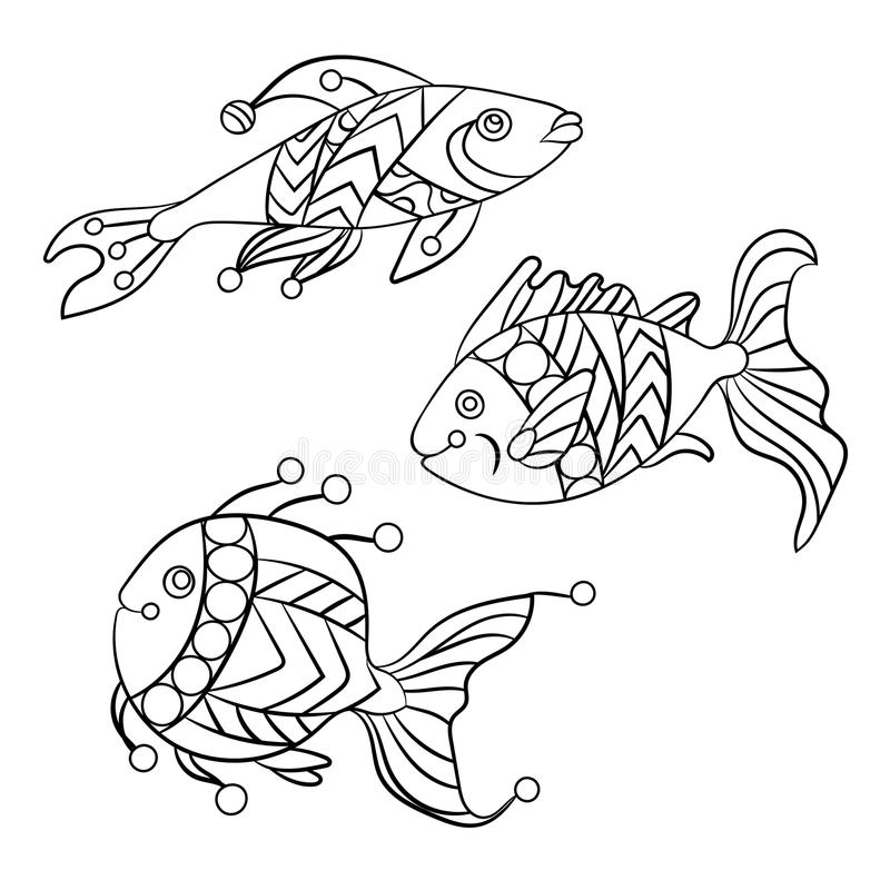 Coloring pages for children and adults with set of ocean fishes. Coloring pages for children and adults with set of ocean and sea fishes in vector graphic vector illustration