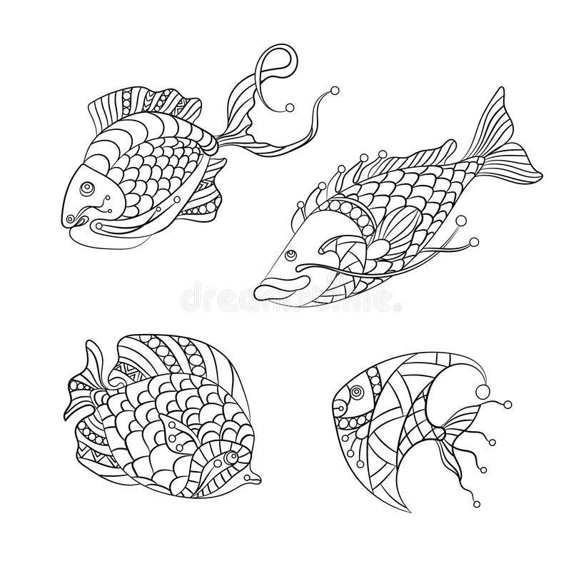 Coloring pages for children and adults with set of ocean fishes. Coloring pages for children and adults with set of ocean and sea fishes in vector graphic royalty free illustration